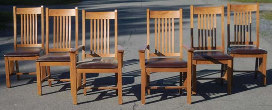 Set 6 Modern Oak Arts Crafts Dining Chairs